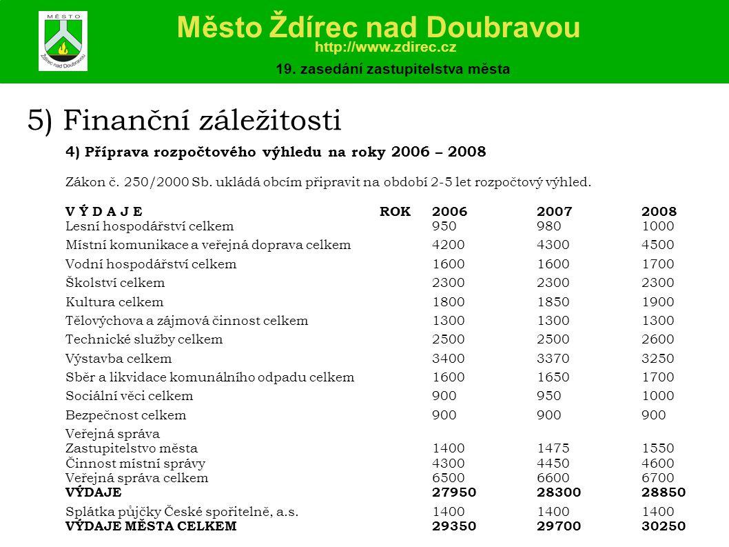 5) Finanční záležitosti 4) Příprava rozpočtového výhledu na roky 2006 – 2008 Zákon č.