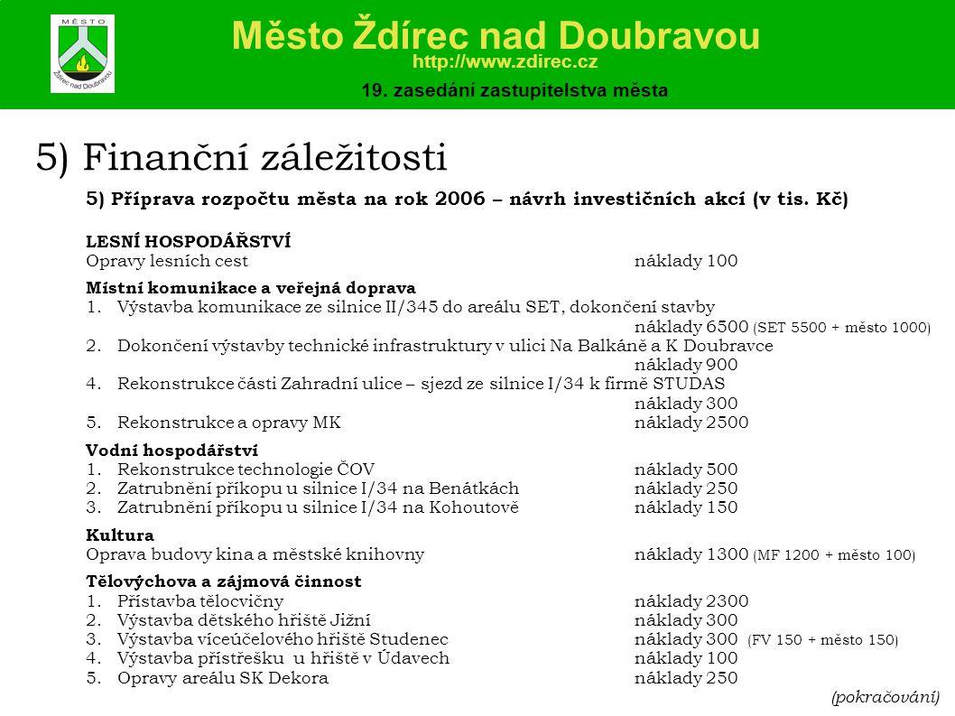 5) Finanční záležitosti 5) Příprava rozpočtu města na rok 2006 – návrh investičních akcí (v tis.