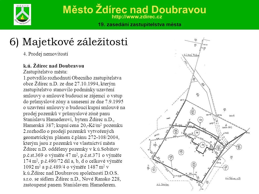 6) Majetkové záležitosti 4.Prodej nemovitostí k.ú.