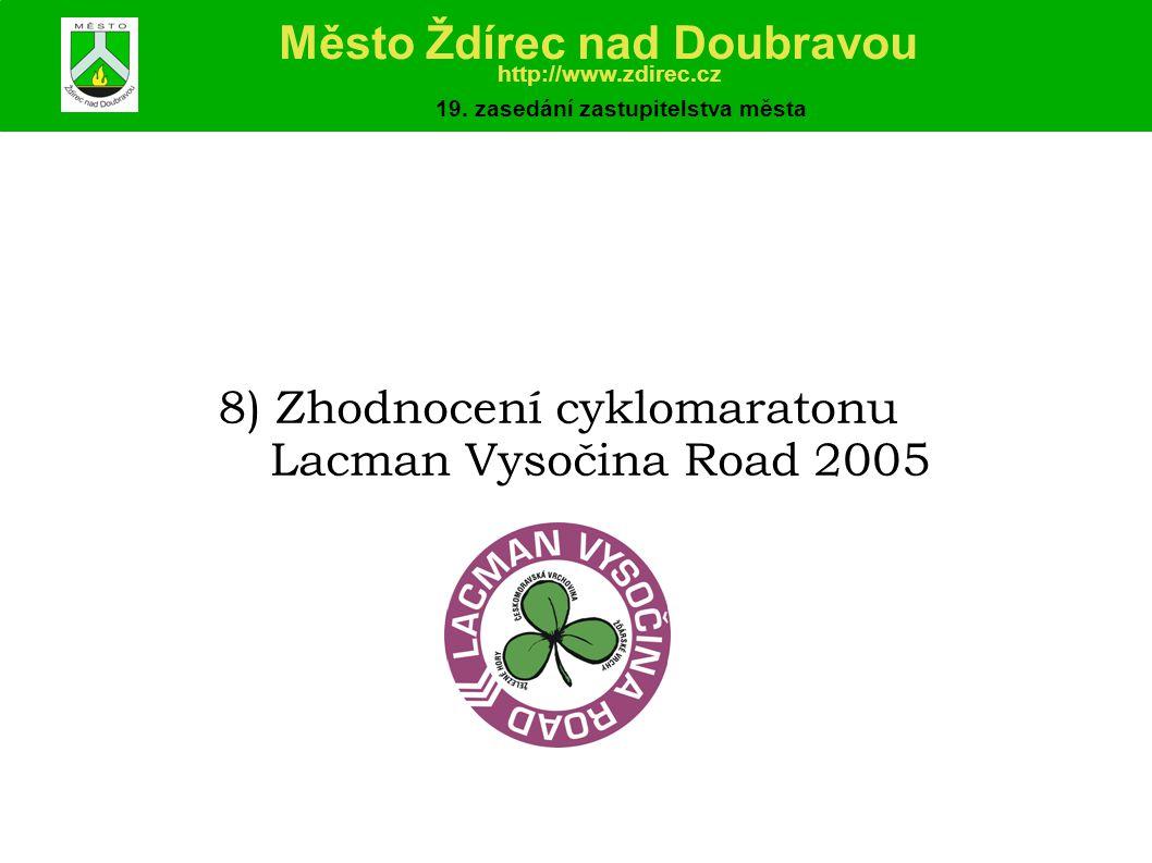 8) Zhodnocení cyklomaratonu Lacman Vysočina Road 2005 Město Ždírec nad Doubravou http://www.zdirec.cz 19.