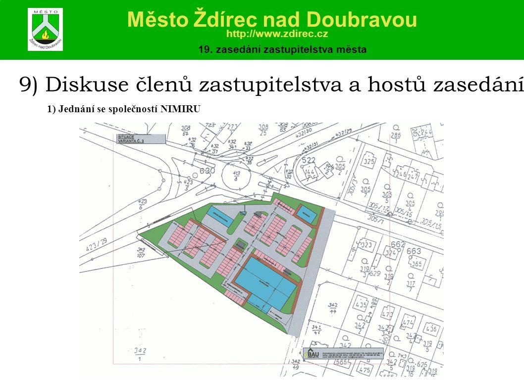 9) Diskuse členů zastupitelstva a hostů zasedání 1) Jednání se společností NIMIRU Město Ždírec nad Doubravou http://www.zdirec.cz 19.