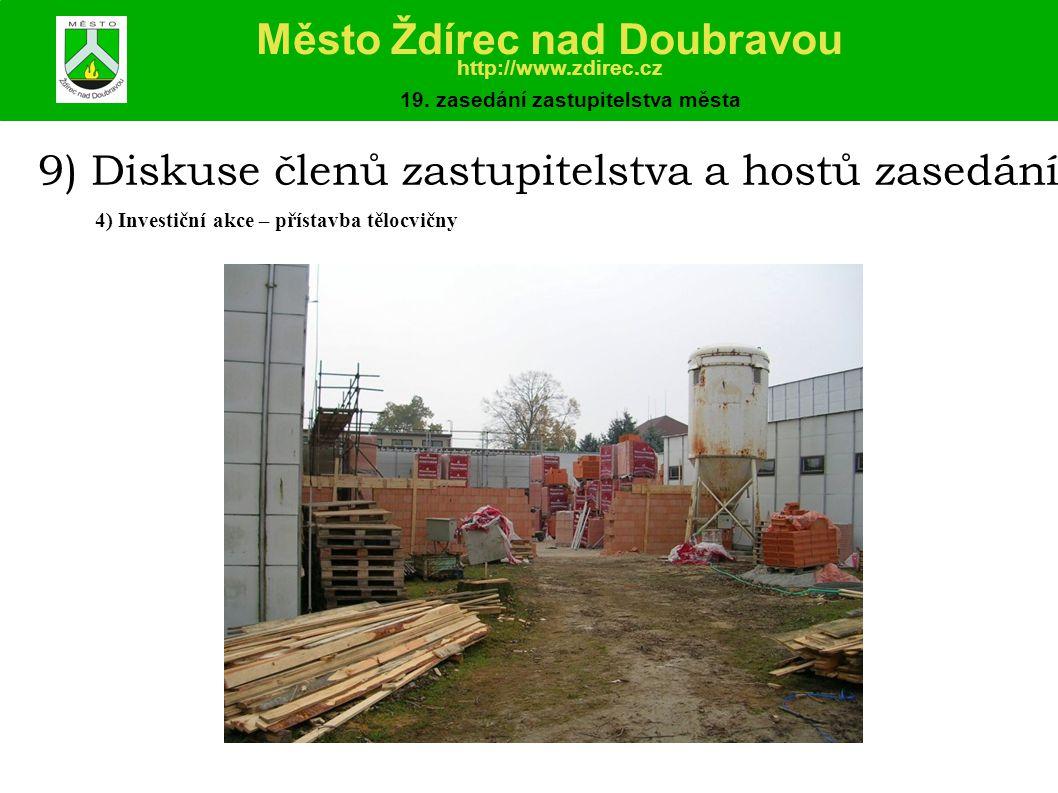 9) Diskuse členů zastupitelstva a hostů zasedání 4) Investiční akce – přístavba tělocvičny Město Ždírec nad Doubravou http://www.zdirec.cz 19.