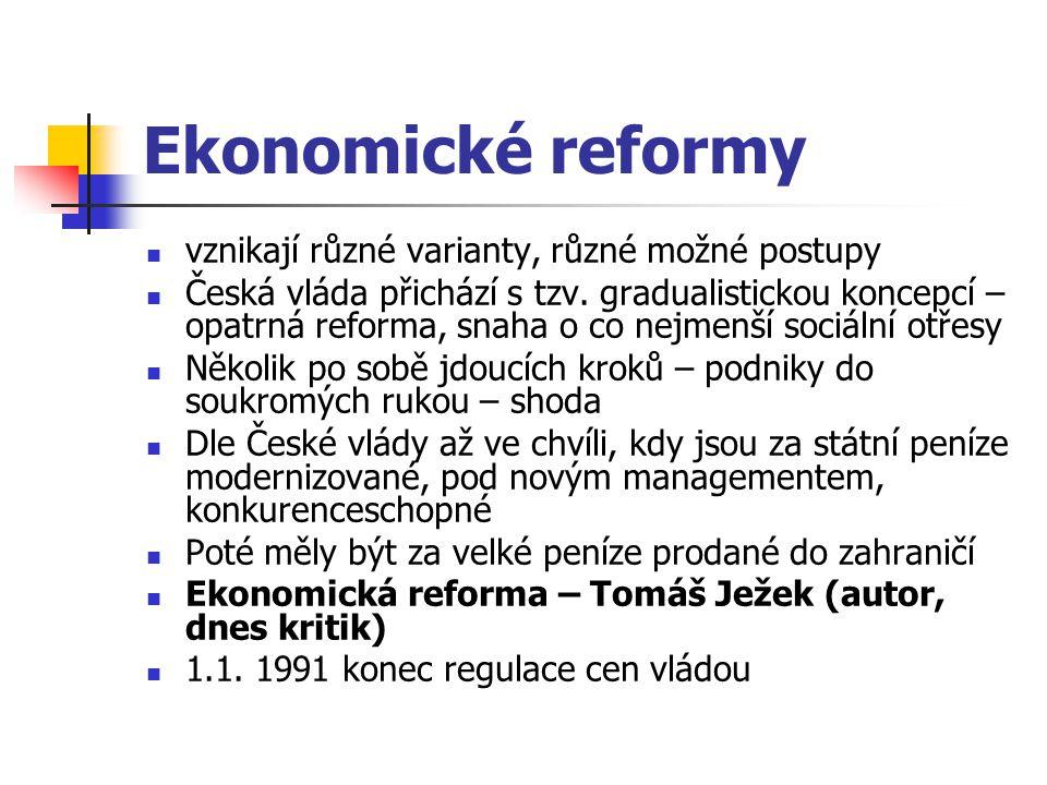 Ekonomické reformy vznikají různé varianty, různé možné postupy Česká vláda přichází s tzv.
