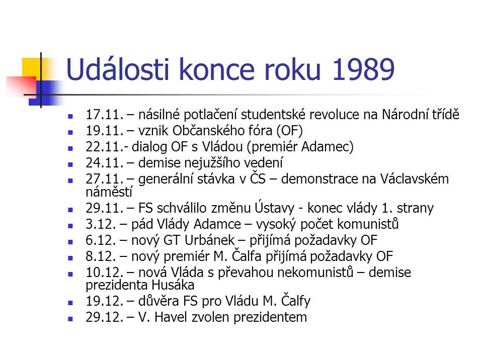 Události konce roku 1989 17.11.– násilné potlačení studentské revoluce na Národní třídě 19.11.