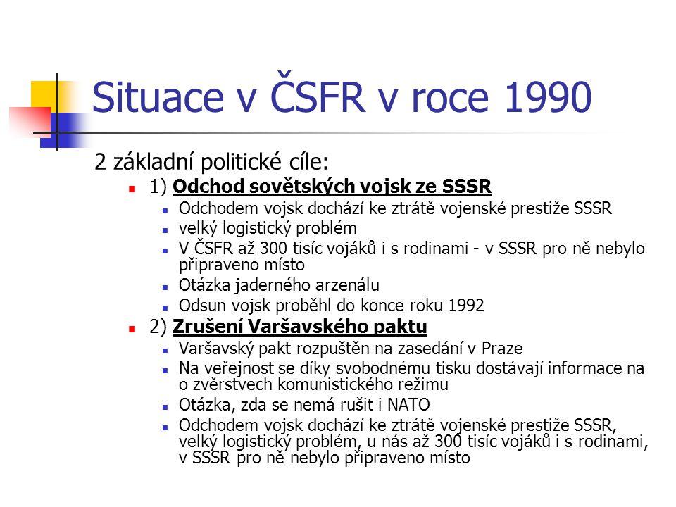 Situace v ČSFR v roce 1990 2 základní politické cíle: 1) Odchod sovětských vojsk ze SSSR Odchodem vojsk dochází ke ztrátě vojenské prestiže SSSR velký logistický problém V ČSFR až 300 tisíc vojáků i s rodinami - v SSSR pro ně nebylo připraveno místo Otázka jaderného arzenálu Odsun vojsk proběhl do konce roku 1992 2) Zrušení Varšavského paktu Varšavský pakt rozpuštěn na zasedání v Praze Na veřejnost se díky svobodnému tisku dostávají informace na o zvěrstvech komunistického režimu Otázka, zda se nemá rušit i NATO Odchodem vojsk dochází ke ztrátě vojenské prestiže SSSR, velký logistický problém, u nás až 300 tisíc vojáků i s rodinami, v SSSR pro ně nebylo připraveno místo