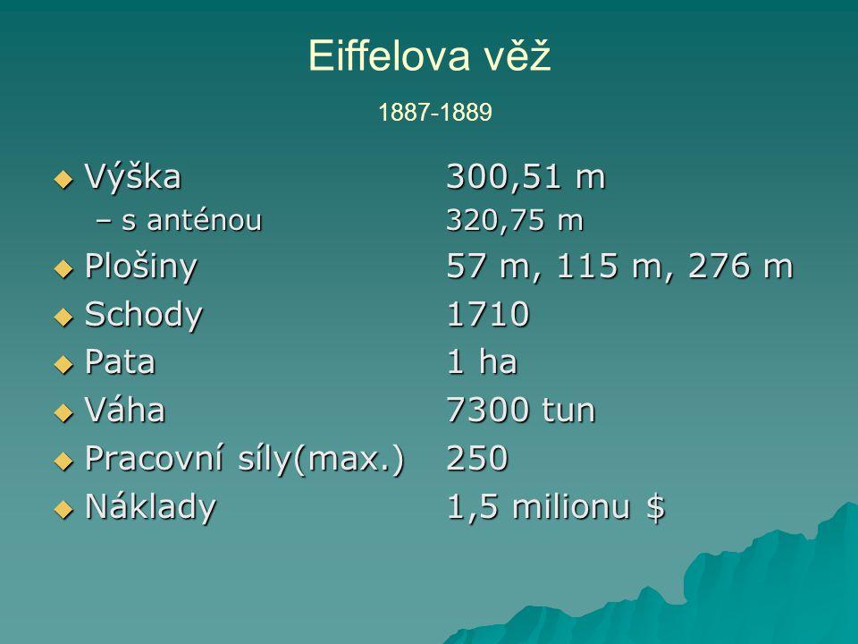  Výška –s anténou  Plošiny  Schody  Pata  Váha  Pracovní síly(max.)  Náklady 300,51 m 320,75 m 57 m, 115 m, 276 m 1710 1 ha 7300 tun 250 1,5 mi