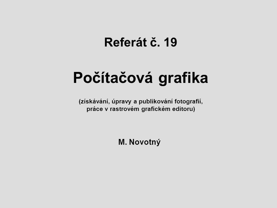 Referát č. 19 Počítačová grafika (získávání, úpravy a publikování fotografií, práce v rastrovém grafickém editoru) M. Novotný