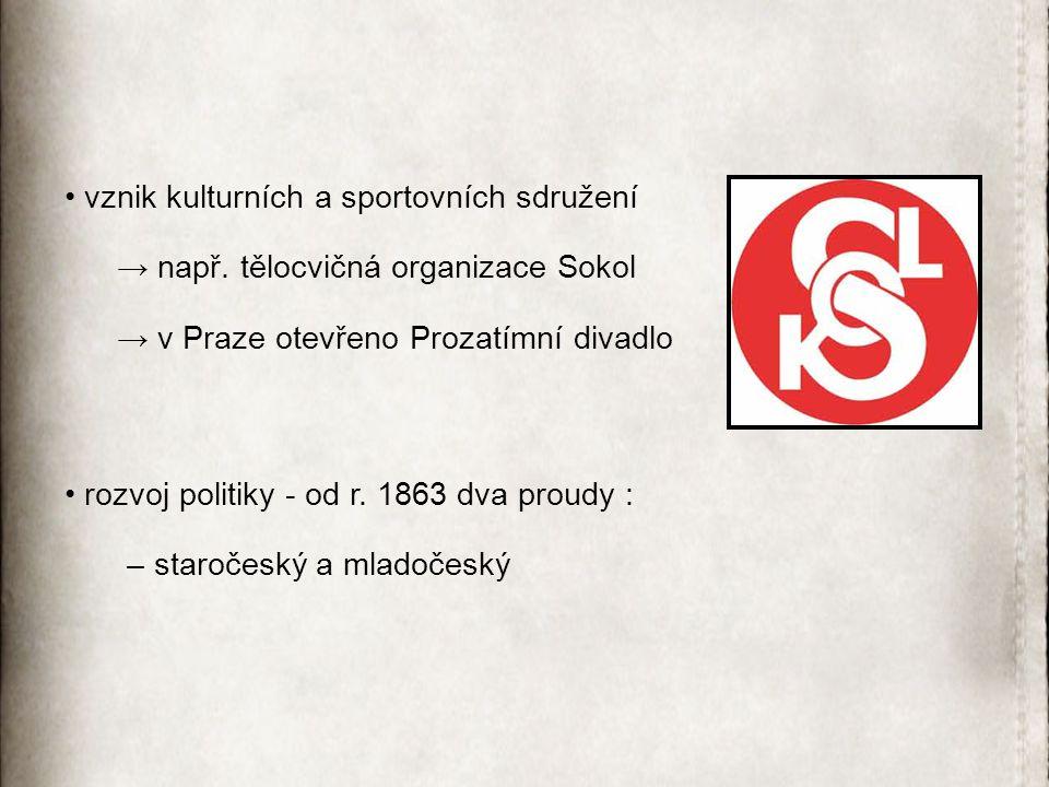vznik kulturních a sportovních sdružení → např. tělocvičná organizace Sokol → v Praze otevřeno Prozatímní divadlo rozvoj politiky - od r. 1863 dva pro