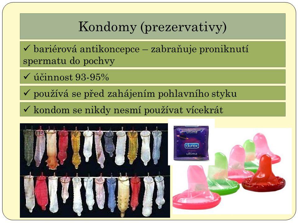 Kondomy (prezervativy) bariérová antikoncepce – zabraňuje proniknutí spermatu do pochvy účinnost 93-95% používá se před zahájením pohlavního styku kon