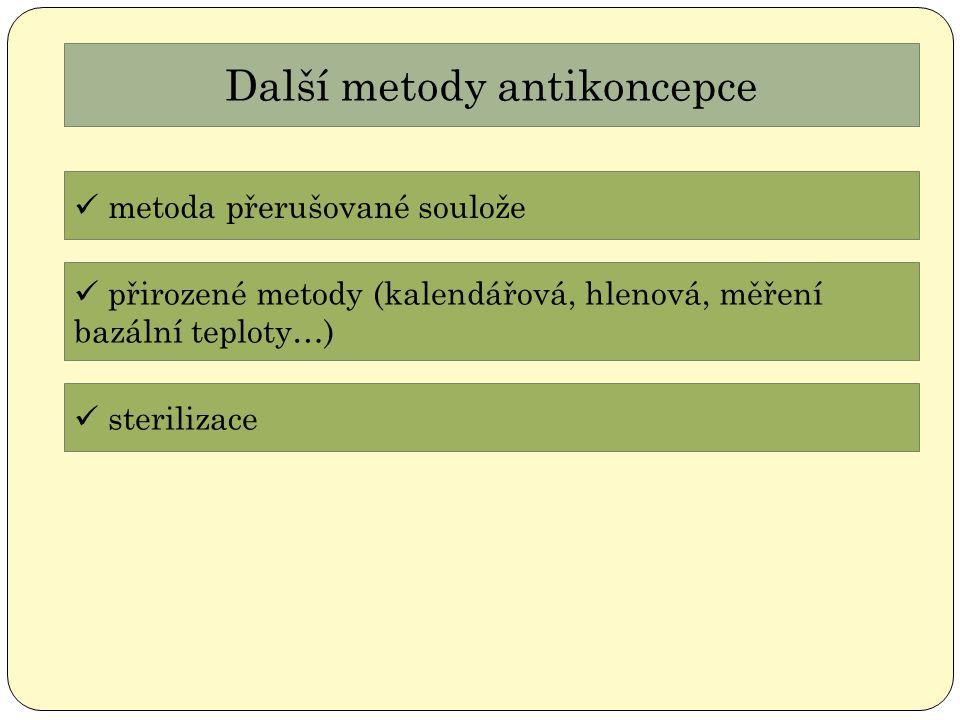 Další metody antikoncepce metoda přerušované soulože přirozené metody (kalendářová, hlenová, měření bazální teploty…) sterilizace