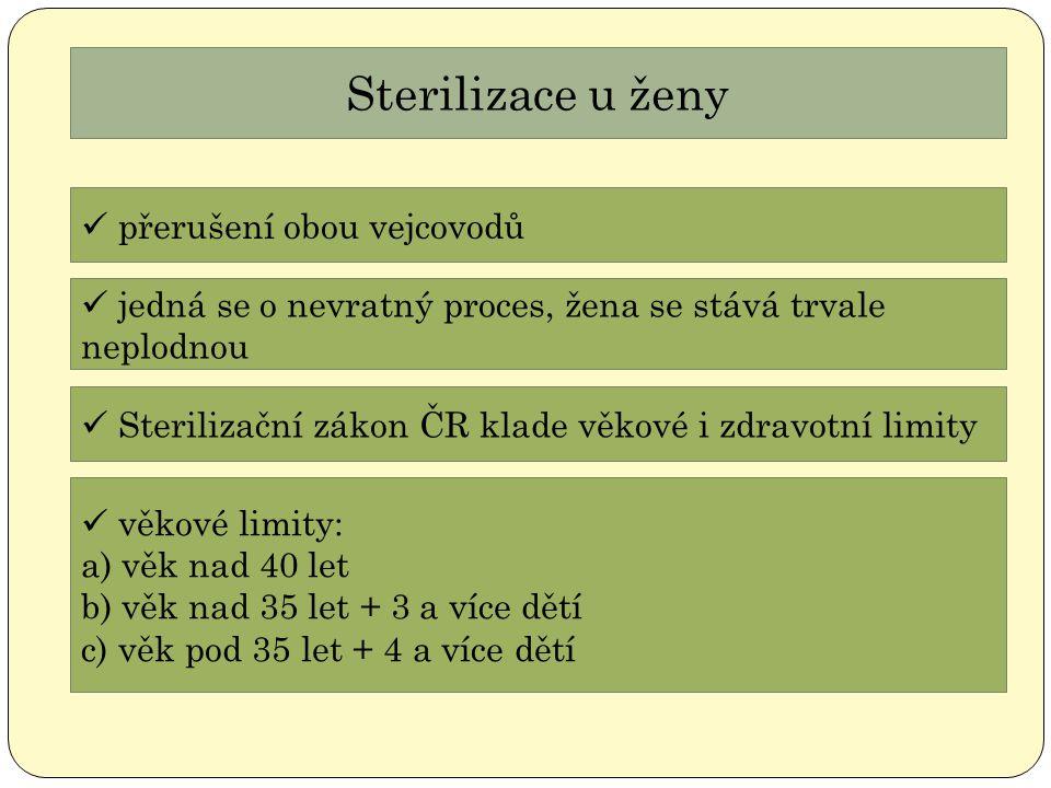 Sterilizace u ženy přerušení obou vejcovodů jedná se o nevratný proces, žena se stává trvale neplodnou Sterilizační zákon ČR klade věkové i zdravotní