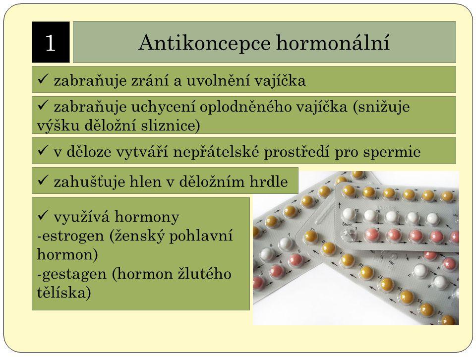 Antikoncepce hormonální zabraňuje zrání a uvolnění vajíčka zabraňuje uchycení oplodněného vajíčka (snižuje výšku děložní sliznice) v děloze vytváří ne