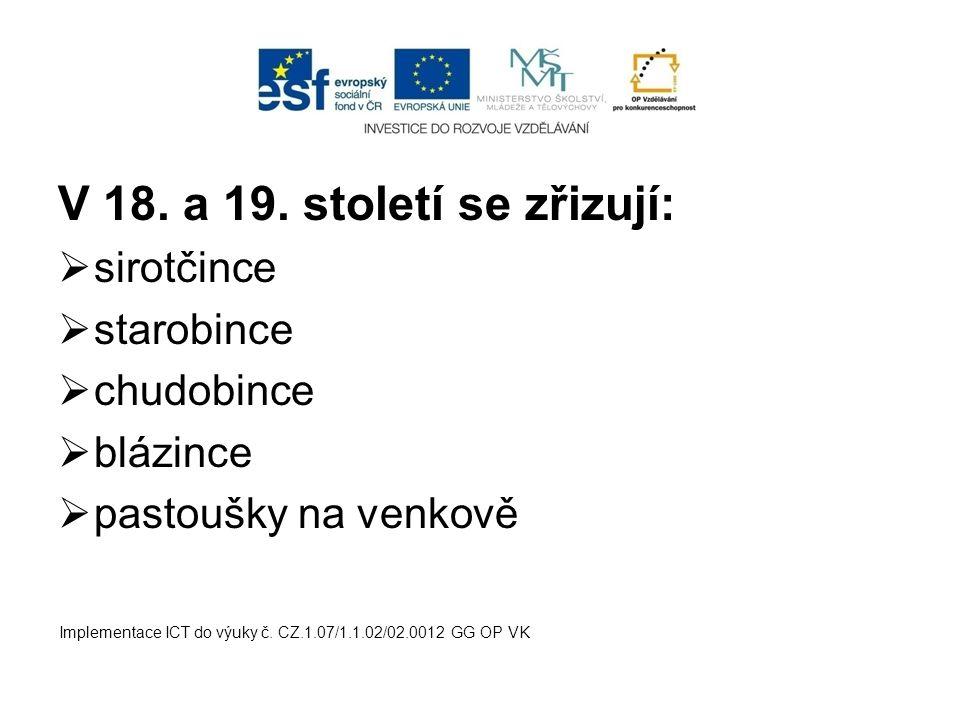 V 18. a 19. století se zřizují:  sirotčince  starobince  chudobince  blázince  pastoušky na venkově Implementace ICT do výuky č. CZ.1.07/1.1.02/0