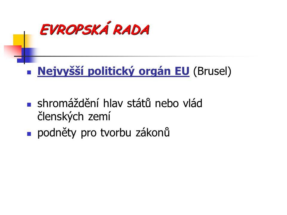 EVROPSKÁ RADA Nejvyšší politický orgán EU (Brusel) shromáždění hlav států nebo vlád členských zemí podněty pro tvorbu zákonů