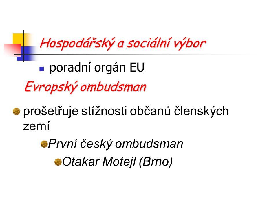 Hospodářský a sociální výbor poradní orgán EU Evropský ombudsman prošetřuje stížnosti občanů členských zemí První český ombudsman Otakar Motejl (Brno)