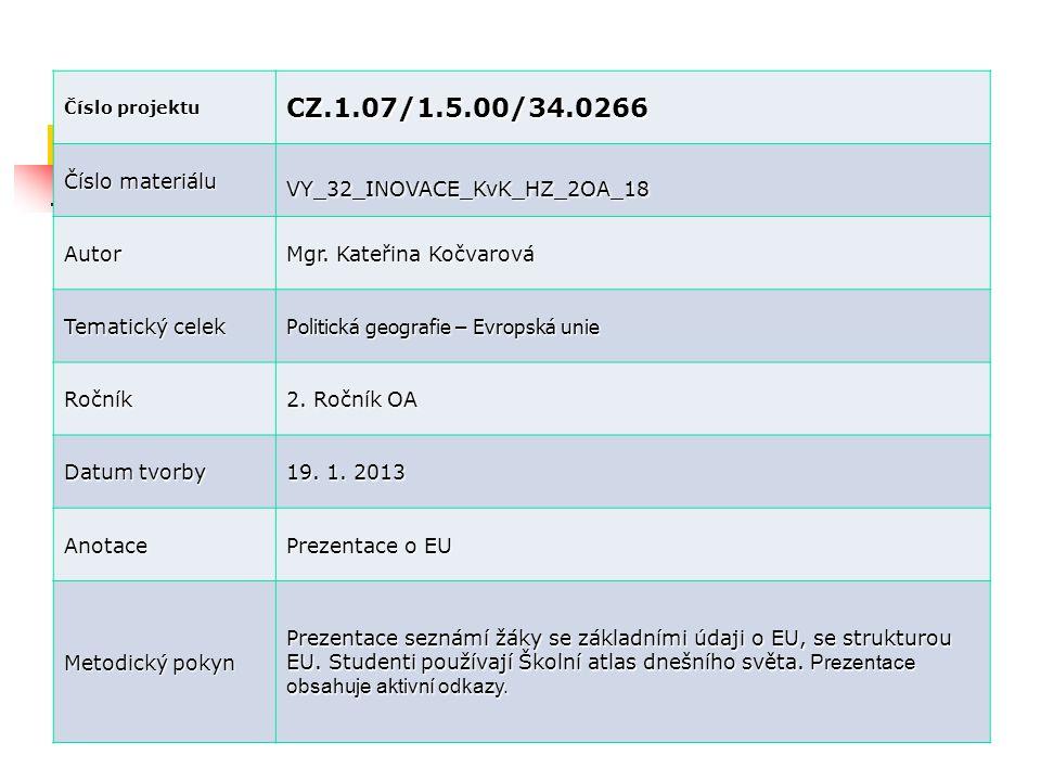 Číslo projektu CZ.1.07/1.5.00/34.0266 Číslo materiálu VY_32_INOVACE_KvK_HZ_2OA_18 Autor Mgr. Kateřina Kočvarová Tematický celek Politická geografie –
