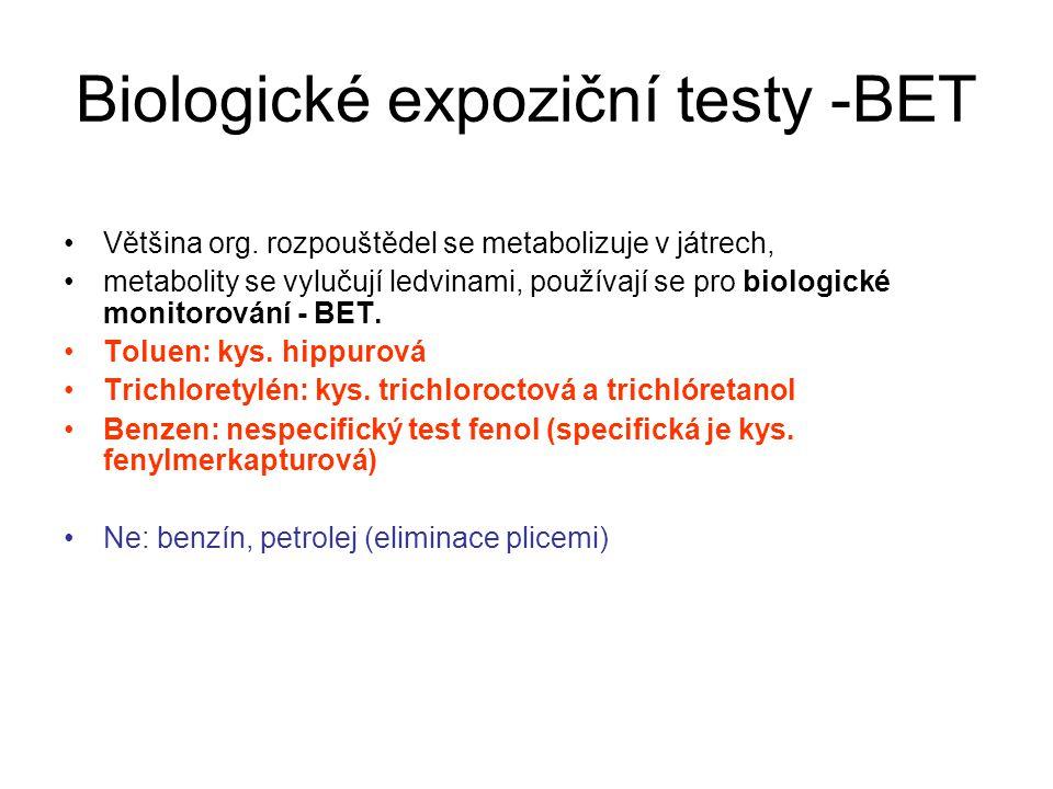 Biologické expoziční testy -BET Většina org.