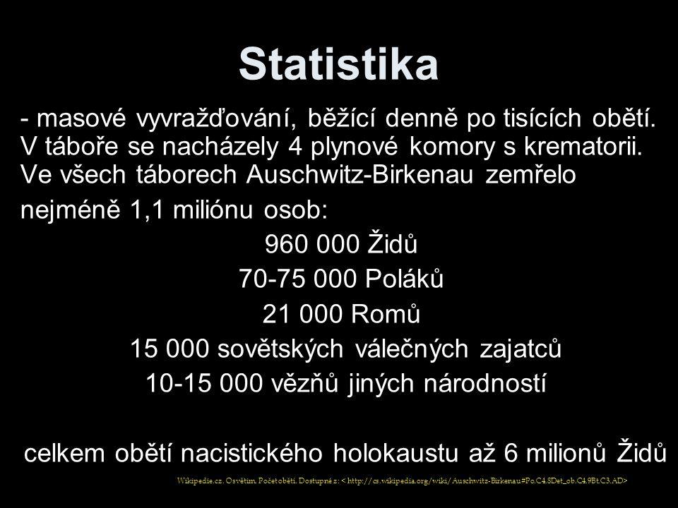 Statistika - masové vyvražďování, běžící denně po tisících obětí. V táboře se nacházely 4 plynové komory s krematorii. Ve všech táborech Auschwitz-Bir