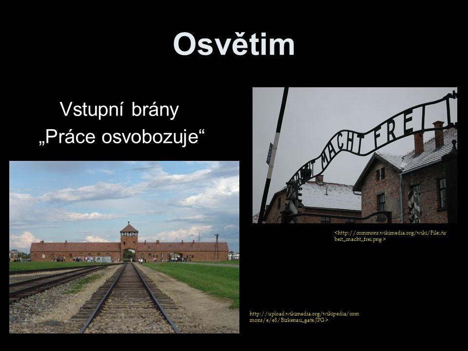 """Osvětim http://upload.wikimedia.org/wikipedia/com mons/e/e8/Birkenau_gate.JPG > Vstupní brány """"Práce osvobozuje"""""""