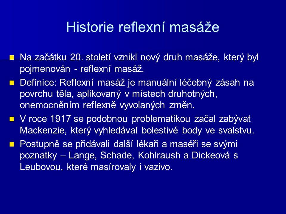 Historie reflexní masáže Na začátku 20. století vznikl nový druh masáže, který byl pojmenován - reflexní masáž. Definice: Reflexní masáž je manuální l