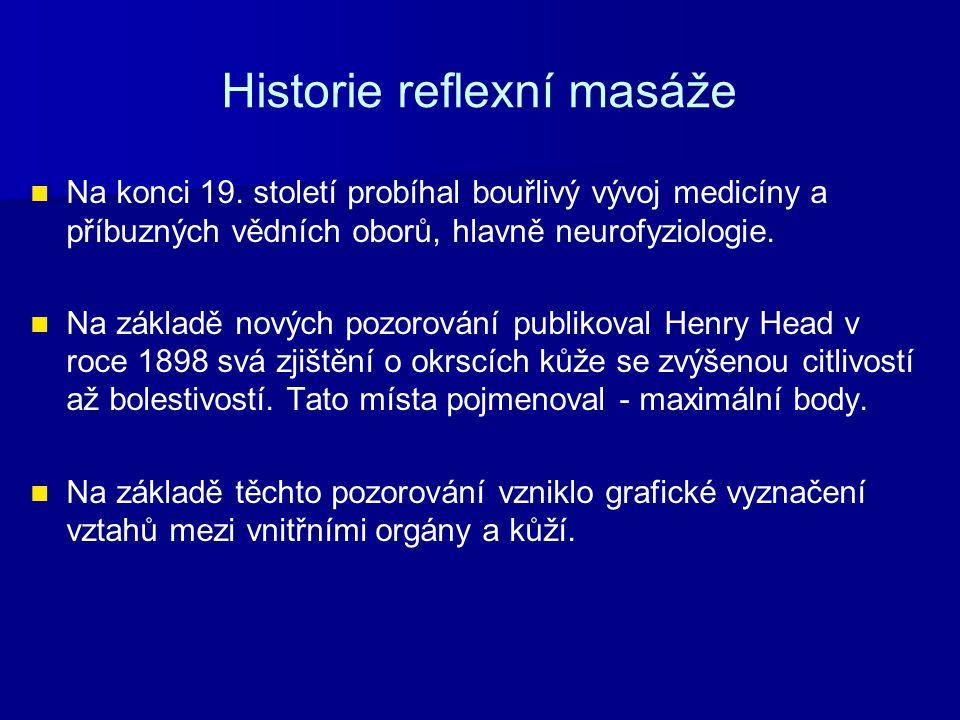 Historie reflexní masáže Na konci 19. století probíhal bouřlivý vývoj medicíny a příbuzných vědních oborů, hlavně neurofyziologie. Na základě nových p