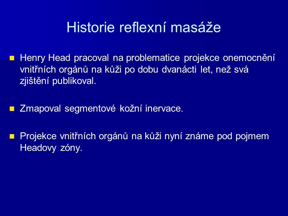 Historie reflexní masáže Henry Head pracoval na problematice projekce onemocnění vnitřních orgánů na kůži po dobu dvanácti let, než svá zjištění publi