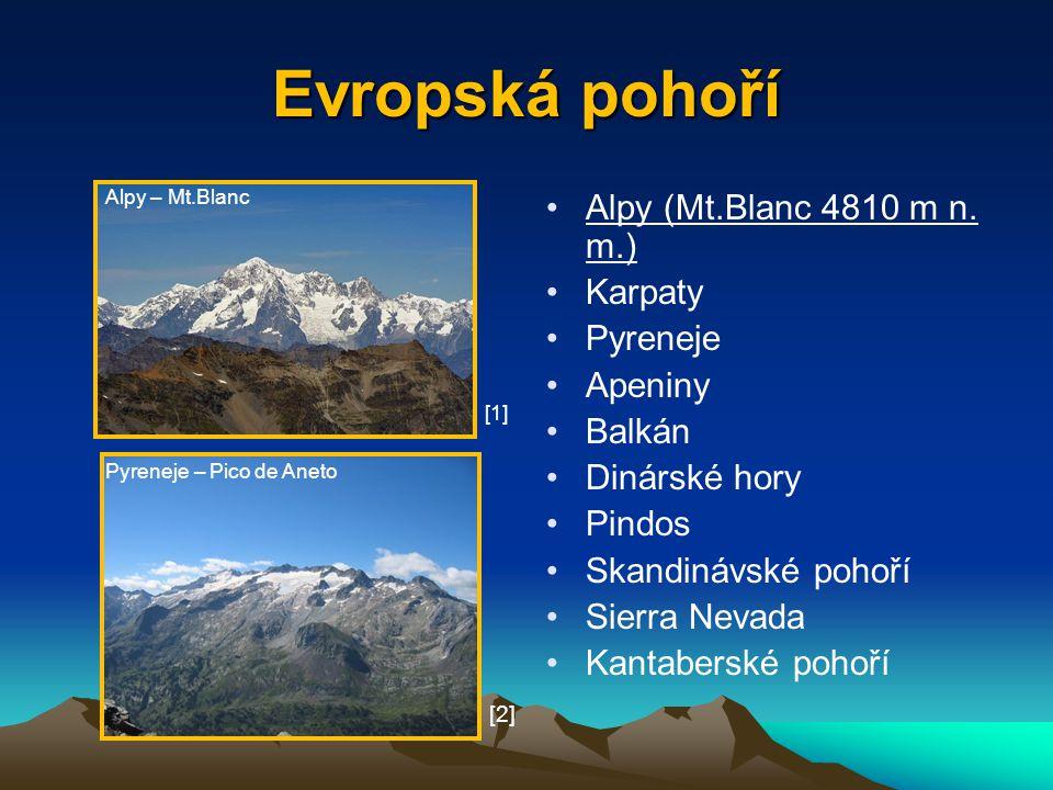 Evropská pohoří Alpy (Mt.Blanc 4810 m n. m.) Karpaty Pyreneje Apeniny Balkán Dinárské hory Pindos Skandinávské pohoří Sierra Nevada Kantaberské pohoří