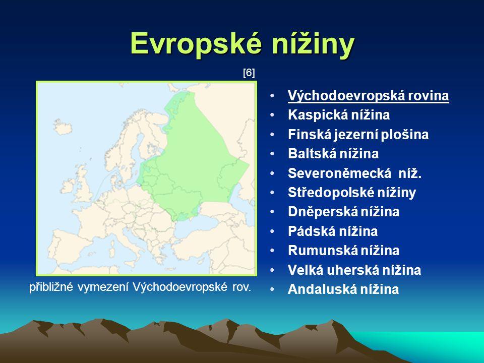 Evropské nížiny Východoevropská rovina Kaspická nížina Finská jezerní plošina Baltská nížina Severoněmecká níž. Středopolské nížiny Dněperská nížina P