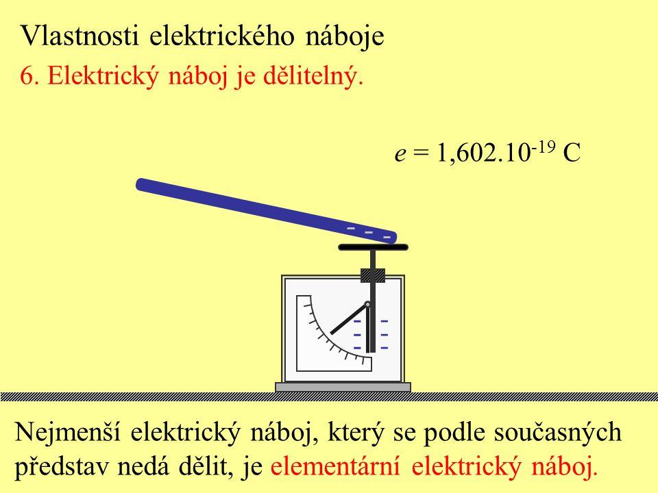 Nejmenší elektrický náboj, který se podle současných představ nedá dělit, je elementární elektrický náboj. Vlastnosti elektrického náboje 6. Elektrick