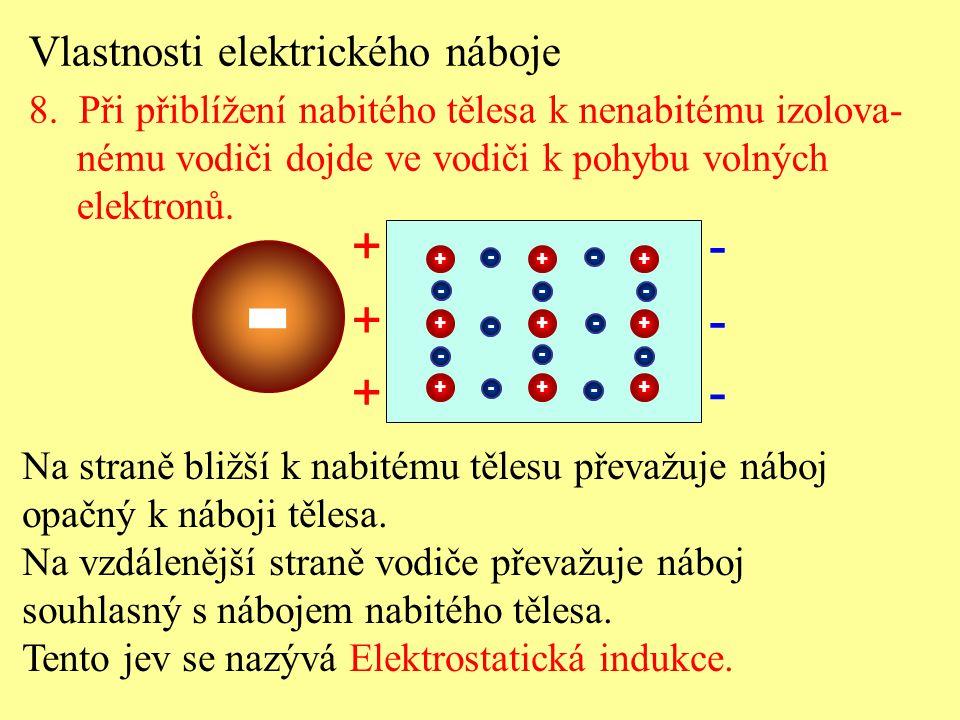 Vlastnosti elektrického náboje 8. Při přiblížení nabitého tělesa k nenabitému izolova- nému vodiči dojde ve vodiči k pohybu volných elektronů. Na stra