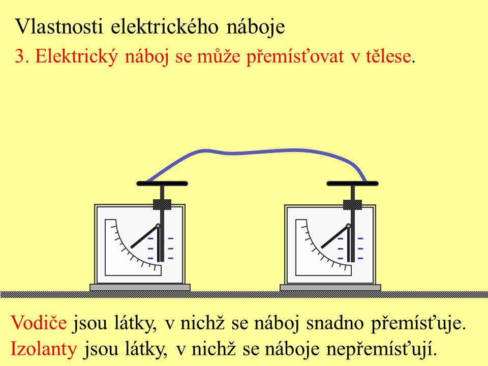 Vlastnosti elektrického náboje 3. Elektrický náboj se může přemísťovat v tělese. ------ ------ ------ ------ Vodiče jsou látky, v nichž se náboj snadn