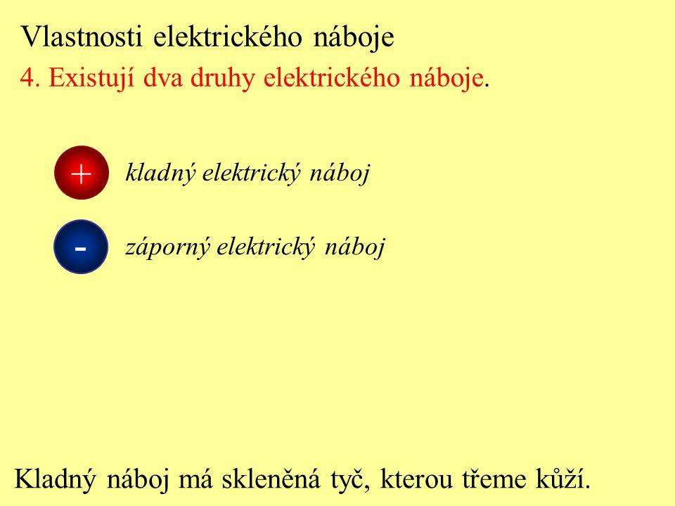 Vlastnosti elektrického náboje 4. Existují dva druhy elektrického náboje. Kladný náboj má skleněná tyč, kterou třeme kůží. kladný elektrický náboj + -