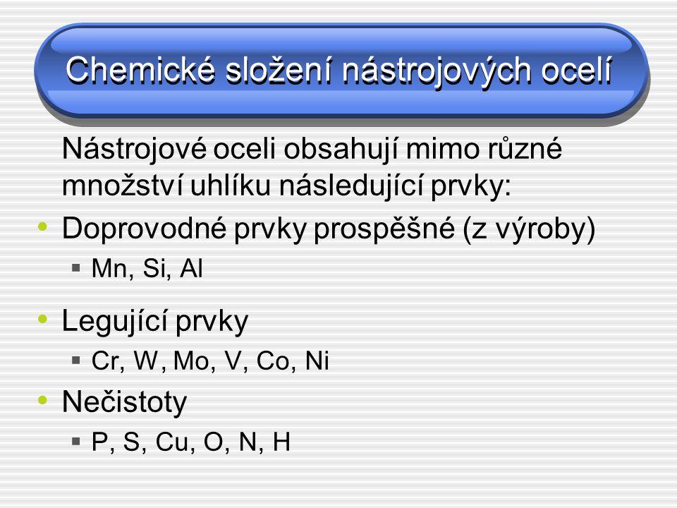 Chemické složení nástrojových ocelí Nástrojové oceli obsahují mimo různé množství uhlíku následující prvky: Doprovodné prvky prospěšné (z výroby)  Mn