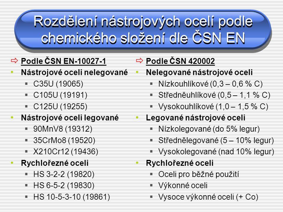 Rozdělení nástrojových ocelí podle použití (ČSN 42 0075) NA – na řezné nástroje NB – na nástroje pro střihání NC – na nástroje pro tváření (NCS – za studena, NCT – za tepla) ND – na formy NE – na nástroje pro drcení a mletí NF – na ruční nástroje a nářadí NG – na měřidla NH – na upínací nářadí