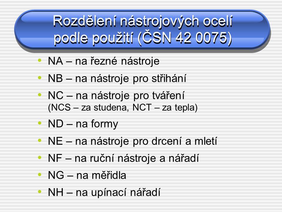 Rozdělení nástrojových ocelí podle použití (ČSN 42 0075) NA – na řezné nástroje NB – na nástroje pro střihání NC – na nástroje pro tváření (NCS – za s