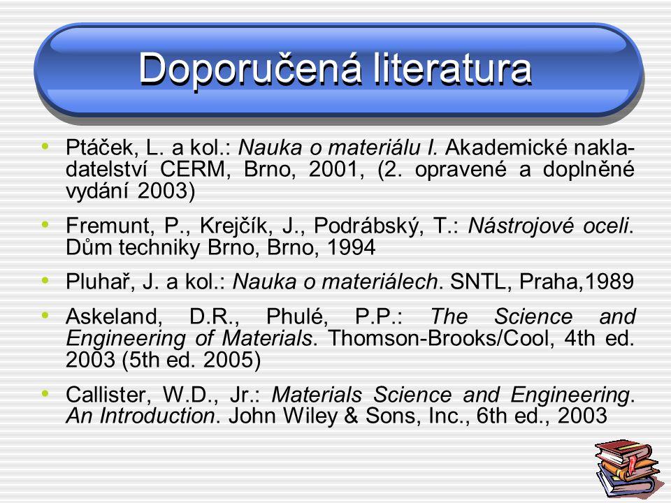 Doporučená literatura Ptáček, L. a kol.: Nauka o materiálu I. Akademické nakla- datelství CERM, Brno, 2001, (2. opravené a doplněné vydání 2003) Fremu