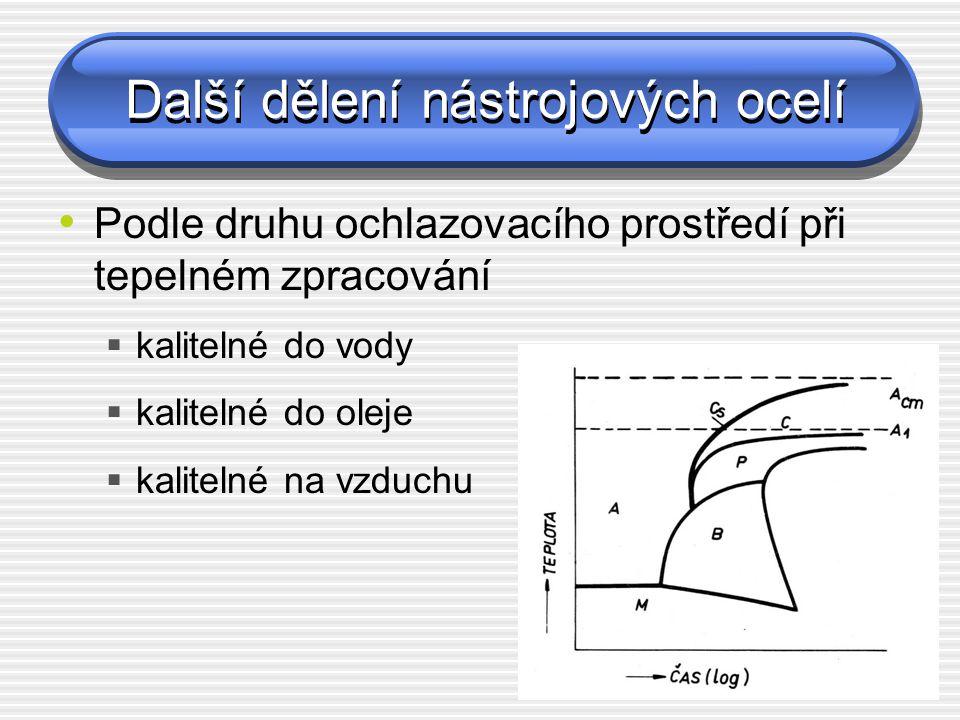 Další dělení nástrojových ocelí Podle druhu ochlazovacího prostředí při tepelném zpracování  kalitelné do vody  kalitelné do oleje  kalitelné na vz