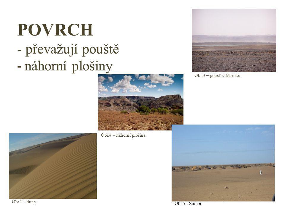 POVRCH - převažují pouště - náhorní plošiny Obr.2 - duny Obr.3 – poušť v Maroku Obr.4 – náhorní plošina Obr.5 - Súdán