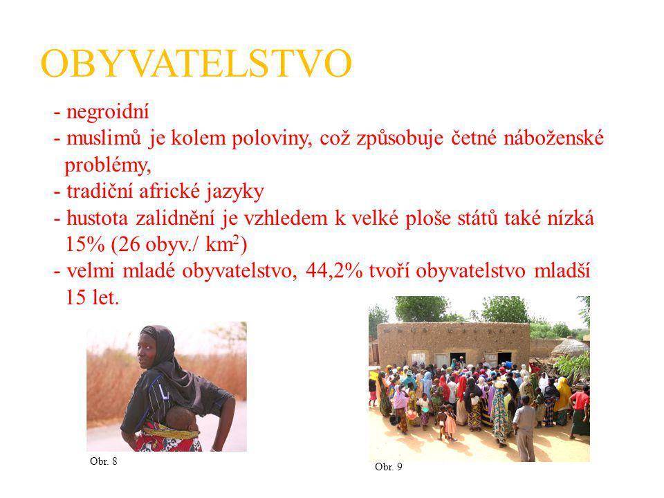 OBYVATELSTVO - negroidní - muslimů je kolem poloviny, což způsobuje četné náboženské problémy, - tradiční africké jazyky - hustota zalidnění je vzhledem k velké ploše států také nízká 15% (26 obyv./ km 2 ) - velmi mladé obyvatelstvo, 44,2% tvoří obyvatelstvo mladší 15 let.