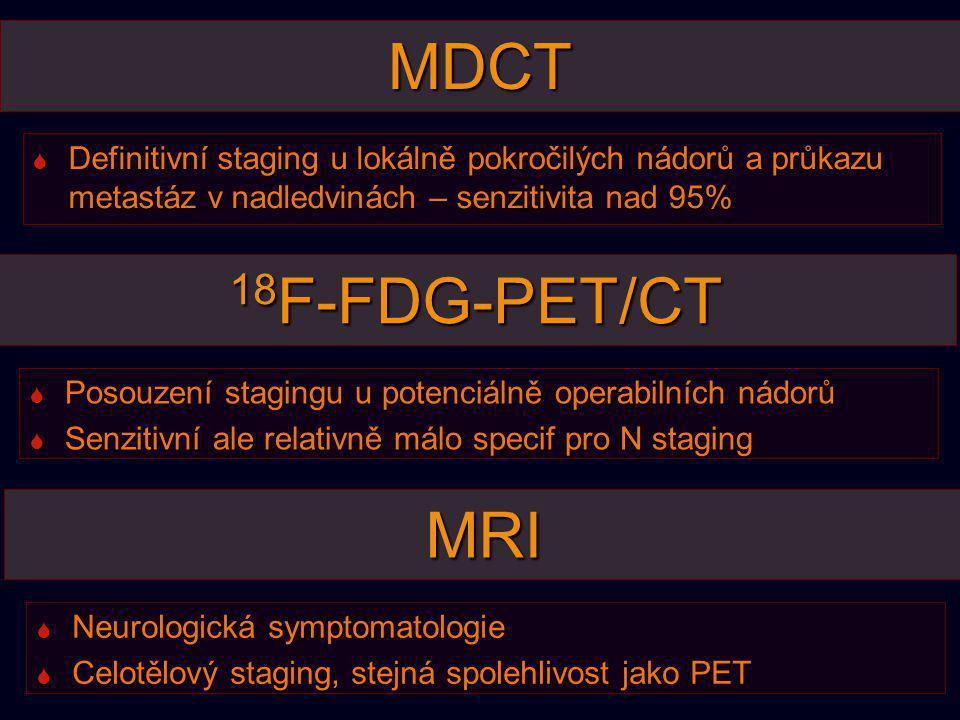 MDCT  Definitivní staging u lokálně pokročilých nádorů a průkazu metastáz v nadledvinách – senzitivita nad 95% 18 F-FDG-PET/CT  Posouzení stagingu u