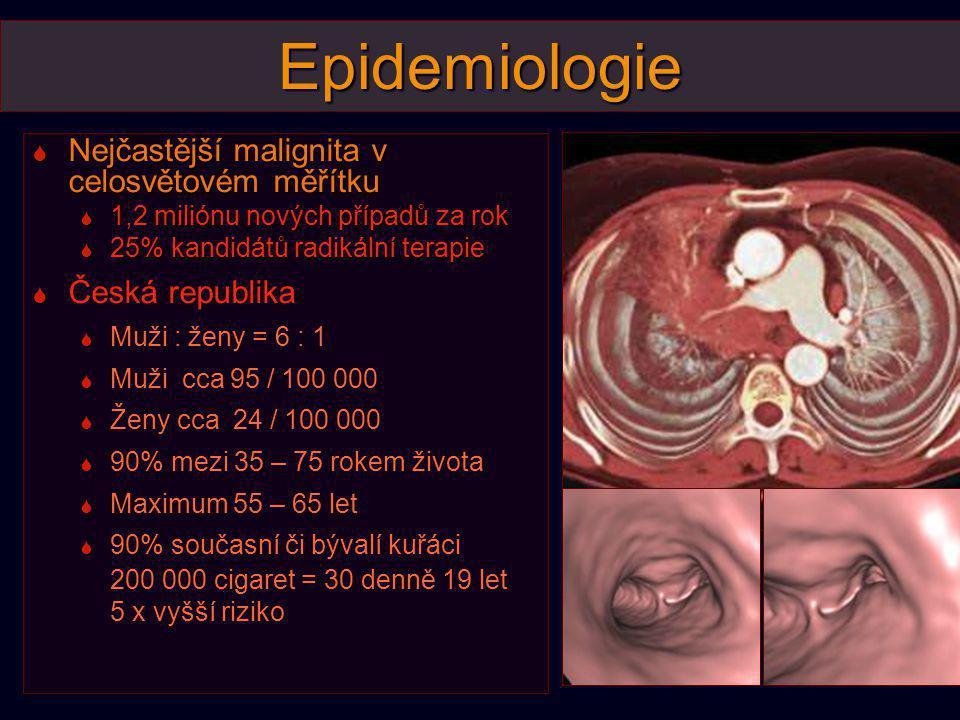 Klasifikace  Malobuněčný karcinom  Neuroendokrinního původu, ze submukózních buněk, systémové onemocnění  Dlaždicobuněčný karcinom  Z dysplastického epitelu segmentárních a proximálnějších bronchů, klesající incidence  Adenokarcinom  Z bronchiálních žlázek, histologicky velmi variabilní skupina  Část nádorů produkuje mucin  Bronchioloalveolární Ca - označuje jen neinvazivní formy, je-li přítomna invaze stromatu, cévní invaze nebo pleury, jedná se o adenoCa s predominantním strukturou broncioloalveolárního Ca  Vzrůstající incidence v Evropě nyní převažující histol.