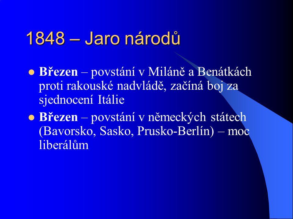 1848 – Jaro národů Březen – povstání v Miláně a Benátkách proti rakouské nadvládě, začíná boj za sjednocení Itálie Březen – povstání v německých státe
