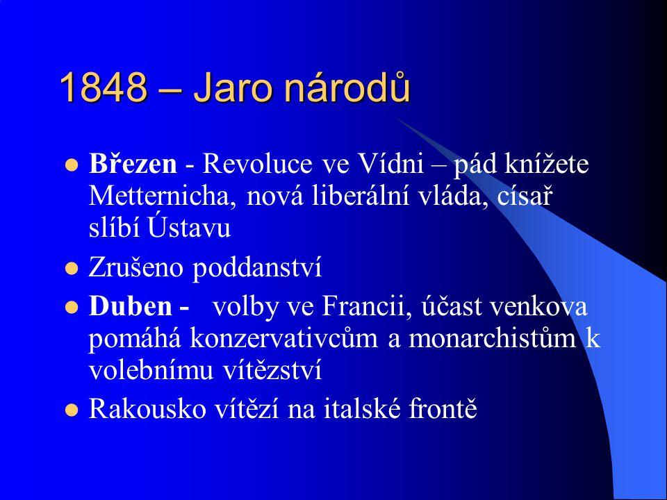 1848 – Jaro národů Březen - Revoluce ve Vídni – pád knížete Metternicha, nová liberální vláda, císař slíbí Ústavu Zrušeno poddanství Duben - volby ve