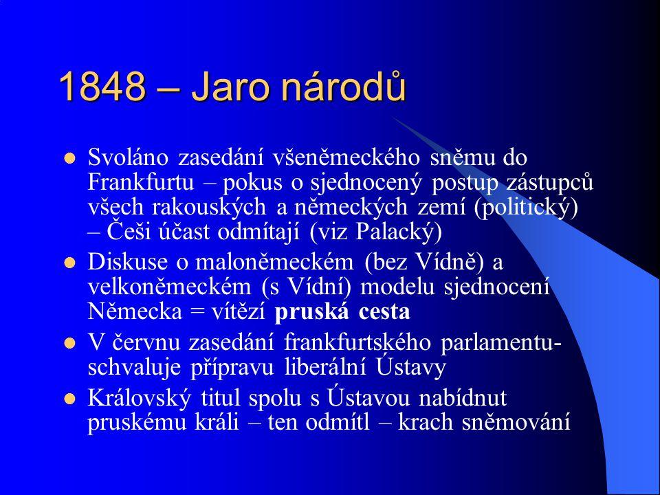 1848 – Jaro národů Svoláno zasedání všeněmeckého sněmu do Frankfurtu – pokus o sjednocený postup zástupců všech rakouských a německých zemí (politický