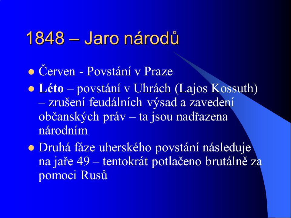 1848 – Jaro národů Červen - Povstání v Praze Léto – povstání v Uhrách (Lajos Kossuth) – zrušení feudálních výsad a zavedení občanských práv – ta jsou