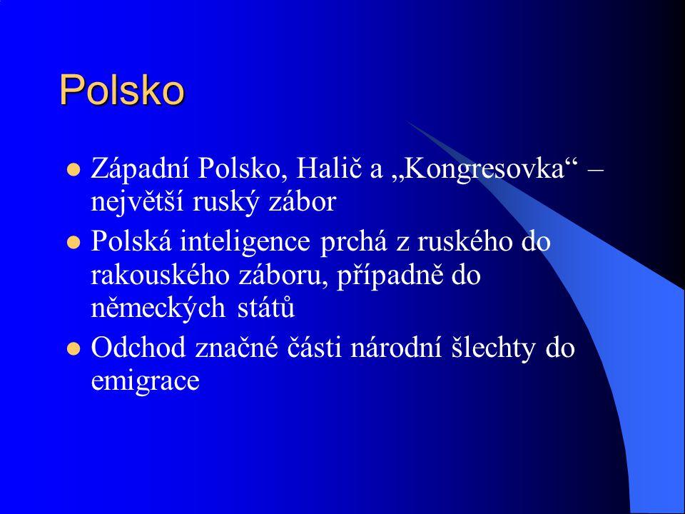"""Polsko Západní Polsko, Halič a """"Kongresovka"""" – největší ruský zábor Polská inteligence prchá z ruského do rakouského záboru, případně do německých stá"""