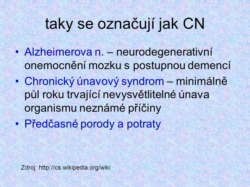 taky se označují jak CN Alzheimerova n. – neurodegenerativní onemocnění mozku s postupnou demencí Chronický únavový syndrom – minimálně půl roku trvaj