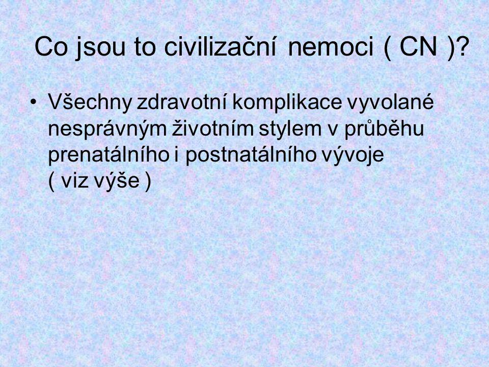 Co jsou to civilizační nemoci ( CN )? Všechny zdravotní komplikace vyvolané nesprávným životním stylem v průběhu prenatálního i postnatálního vývoje (