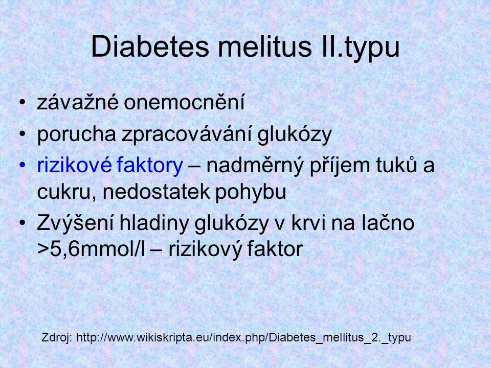 Diabetes melitus II.typu závažné onemocnění porucha zpracovávání glukózy rizikové faktory – nadměrný příjem tuků a cukru, nedostatek pohybu Zvýšení hl