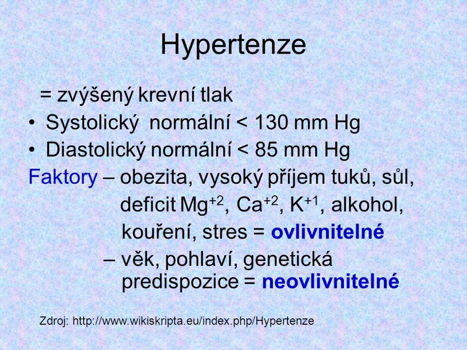 Hypertenze = zvýšený krevní tlak Systolický normální < 130 mm Hg Diastolický normální < 85 mm Hg Faktory – obezita, vysoký příjem tuků, sůl, deficit M